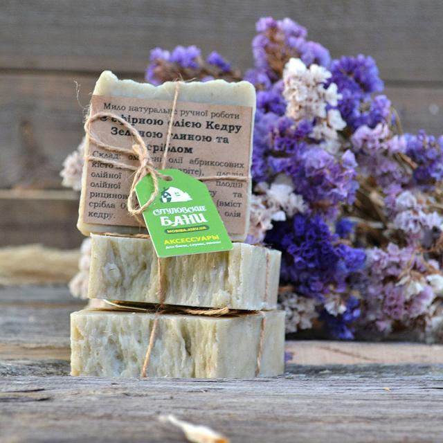 MobiNatura Naturlig håndlaget såpe med essensiell olje av ceder grønn leire og sølv kjøp i Norge i butikk