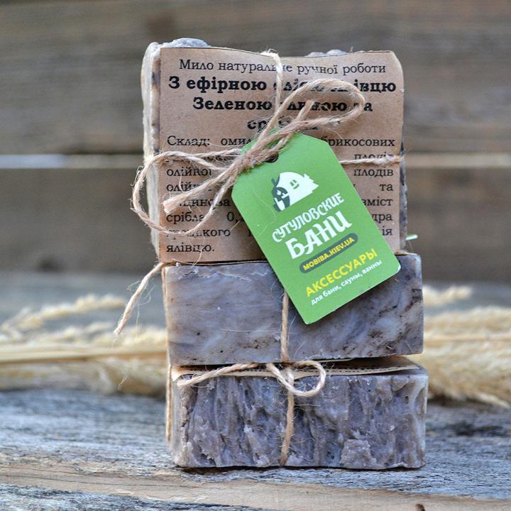 MobiNatura naturlig håndlaget såpe med Juniper essensiell olje grønn leire og sølv kjøp i Norge i butikk